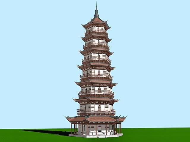 Ancient Chinese Pagoda 3d model