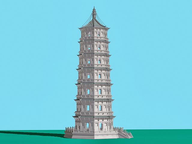 Ancient China Pagoda 3d model