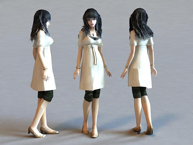 Beautiful Asian Girl 3d model