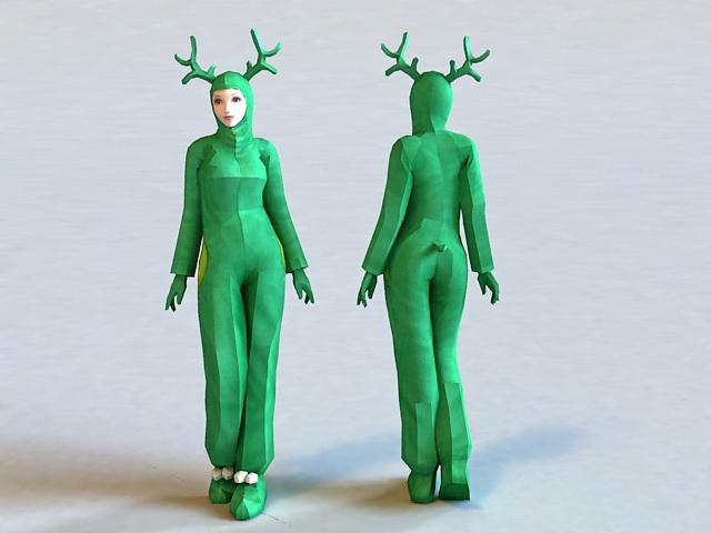 Cute Girl Reindeer Costume 3d model