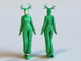 Cute Girl Reindeer Costume 3d model