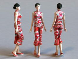 Traditional Chinese Dress Girl 3d model