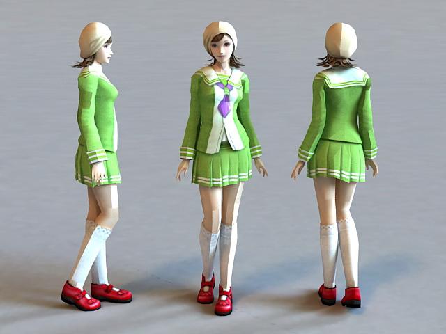 Cute Skirt Girl 3d model