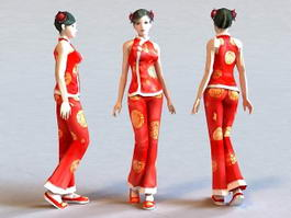 Chinese New Year Girl 3d model