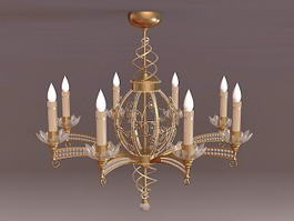 8 Brass Candle Chandelier 3d model