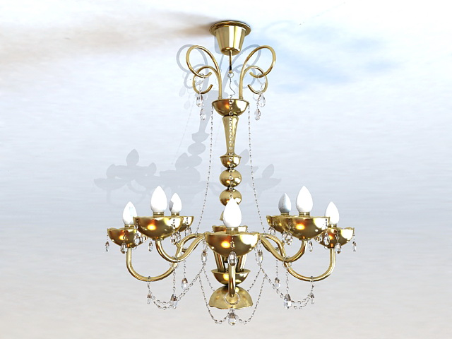 Colonial Brass Chandelier 3d model