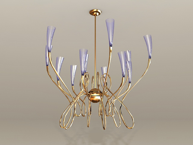 Modern Brass Chandelier 3d model