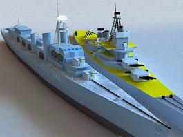 Naval Warship 3d model