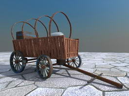 Ancient Wooden Carriage with Barrels 3d model