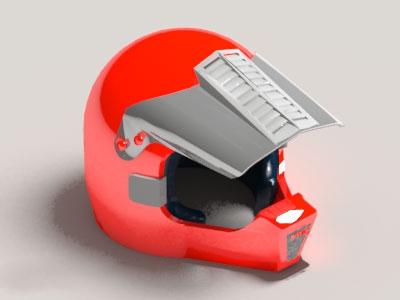 Red Motorcycle Helmet 3d model