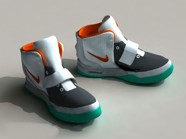3D model of Nike basketball shoes. Available 3d file format: .c4d  (Cinema4D) .max (Autodesk 3ds Max) .fbx (Autodesk FBX) Texture format: jpg