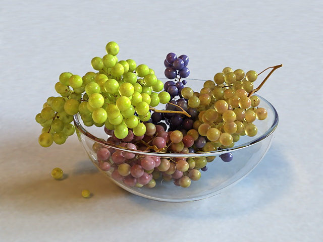 Grapes in Bowl 3d model