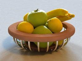 Mixed Fruit Basket 3d model