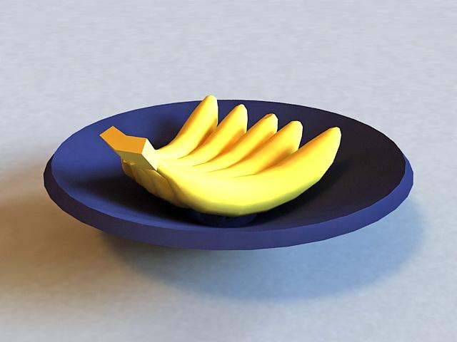 Bananas On Plate 3d model