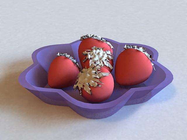 Strawberries on Plate 3d model