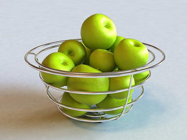 Apples in Wire Basket 3d model