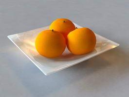 Orange on Plate 3d model