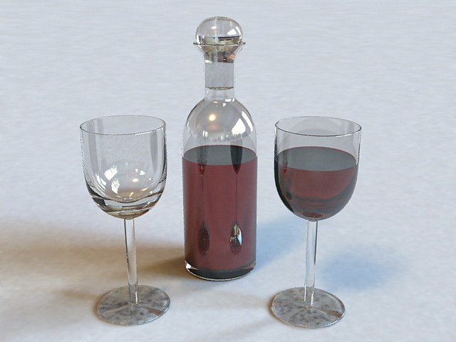 Wine Bottle and Glass 3d model