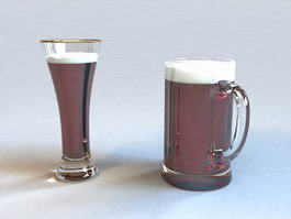 Glass Beer Mugs 3d model