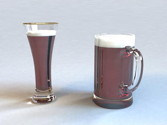 Glass Beer Mugs 3d model