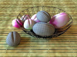 Basket of Peaches 3d model