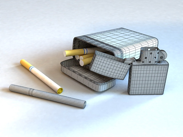 Cigarettes and Lighter 3d model