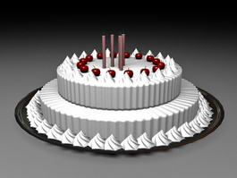 Happy Birthday Cake with Candles 3d model