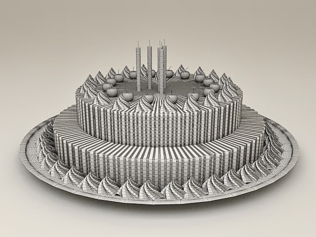 Happy Birthday Cake With Candles 3d Model 3ds Max Files Free