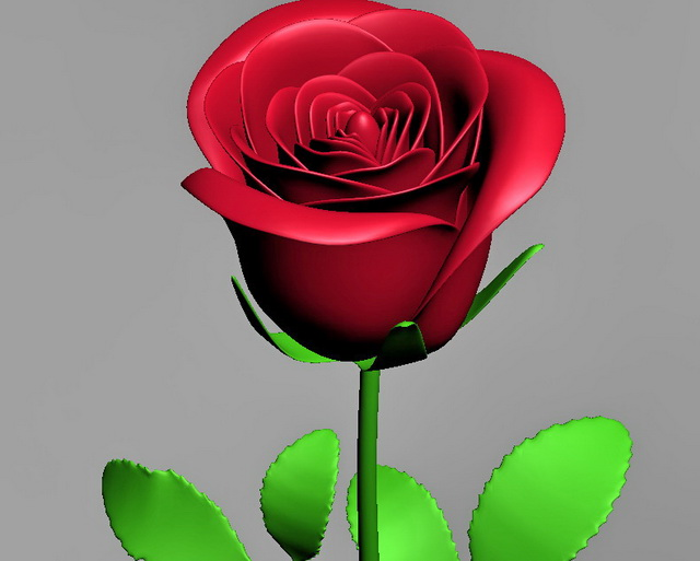 Red Rose Flower 3d Model 3ds Max Files Free Download