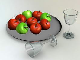 Wine Glass And Apple 3d model