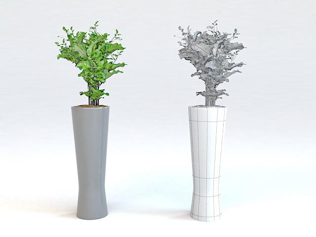 Tall White Vase Plant 3d model