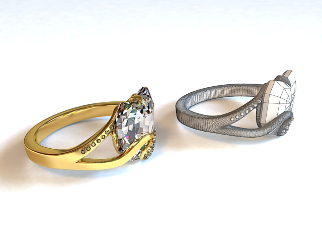 Diamond Wedding Ring 3d model
