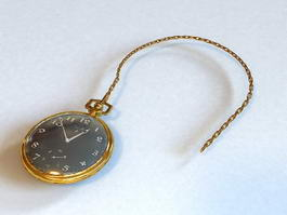 Gold Antique Pocket Watch 3d preview