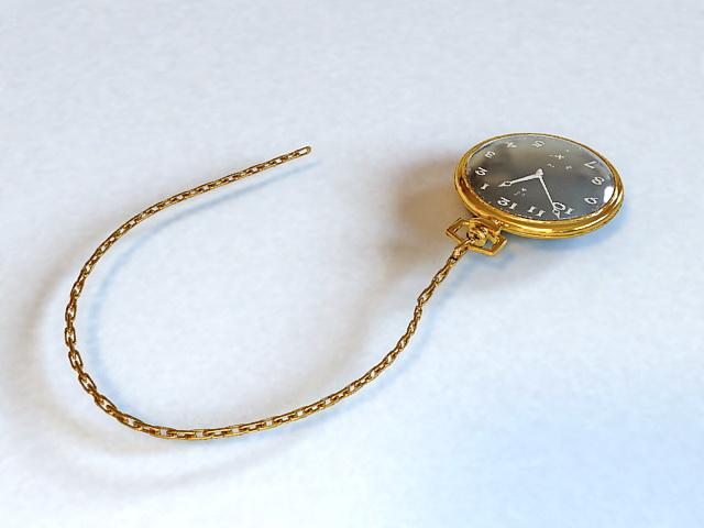 Gold Antique Pocket Watch 3d model