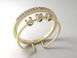 Pink Gemstone Ring 3d model