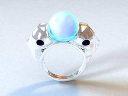 Dolphin Gemstone Ring 3d model