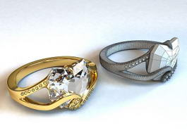 Gold and Diamond Ring 3d model