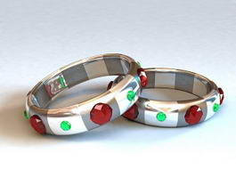 Gemstone Bangle Bracelet 3d model