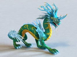 Blue Chinese Dragon 3d model