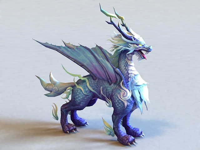 chinese kirin dragon 3d model 3ds max files free download