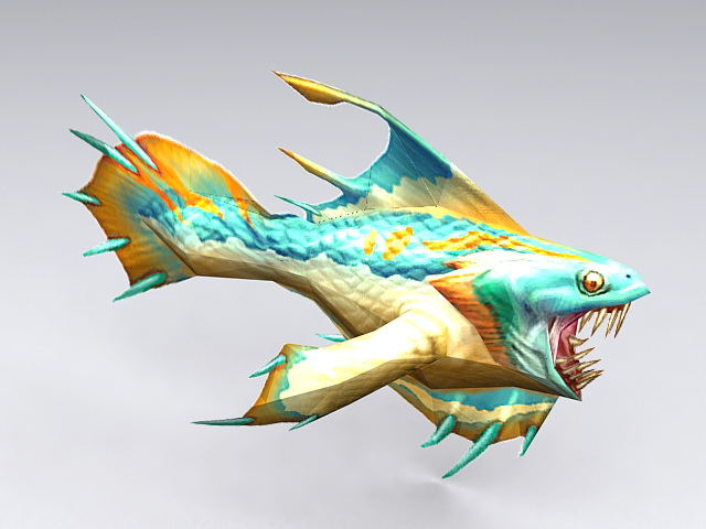 Anime Piranha Fish 3d model