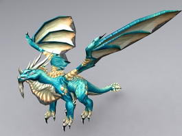 Blue Dragon with Biped 3d model