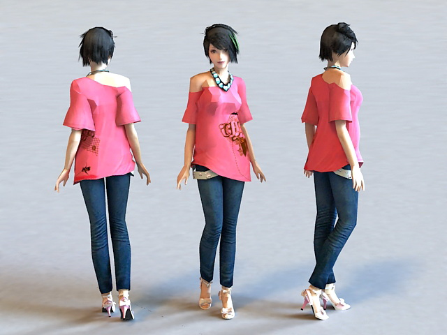 Cute Asian Girl 3d model