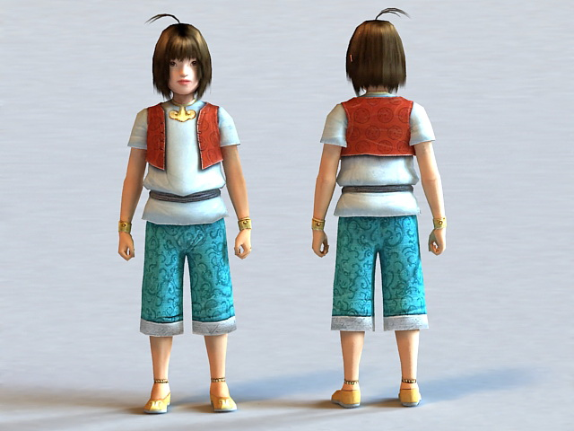 Cute Little Anime Boy 3d model