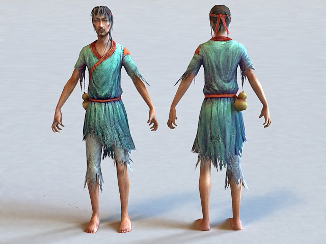 Ancient Beggar Man 3d model