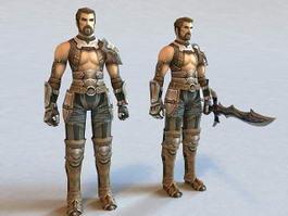Futuristic Warrior Animated & Rigged 3d model