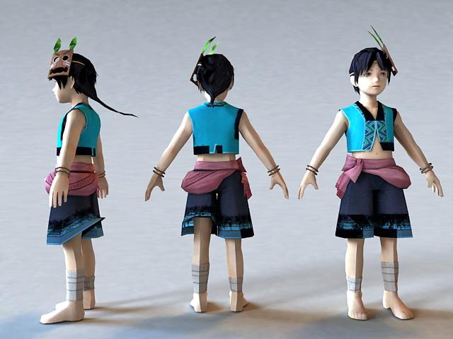Kawaii Anime Boy 3d model