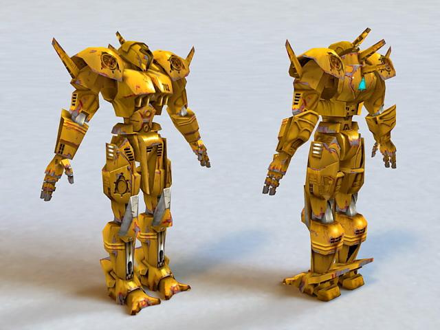 Fighting Yellow Robot 3d model