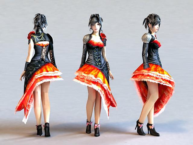 Emo Dress Girl 3d model