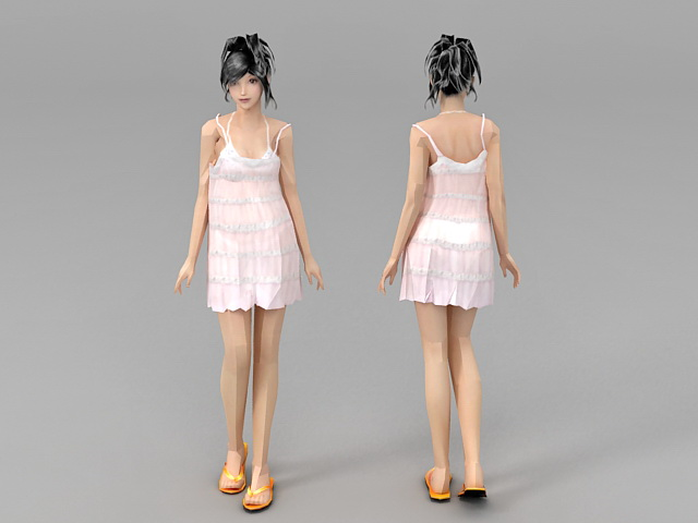 Dress Slip Girl 3d model